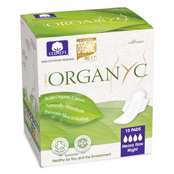 Organyc Sanitary Pads Heavy Flow Night (With Folded Wings) 100% Organic Cotton