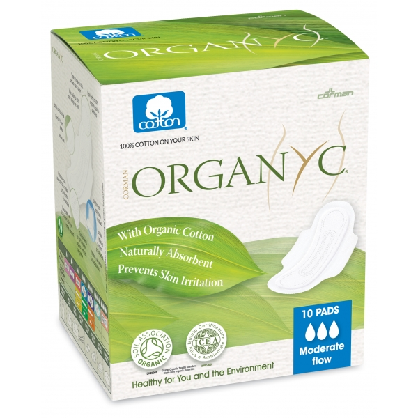 Organyc Sanitary Pads Moderate Flow(with Folded Wings) 100% Organic Cotton